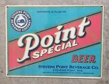 Point Special Beer Label Stevens Point Wisconsin Brewery Ad Vintage Metal Sign