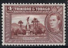 TRINIDAD & TOBAGO, 1938, KGVI, SG249, 4c CHOCOLATE, MOUNTED MINT.