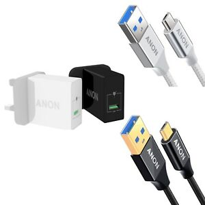 GENUINE ANON MAINS QUICK CHARGER MICRO USB CABLE PLUG UK FOR HTC DESIRE 12+ 12S