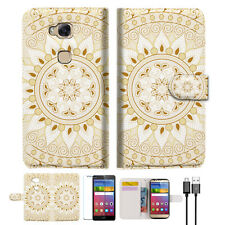 White AZTEC TRIBAL Phone Wallet Case Cover For Huawei Ascend GR5 2017-- A006
