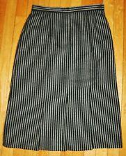 Vtg 100% Wool JAEGER Knee Length Pleated Skirt Sz 14 Black w/ White Chalk Stripe
