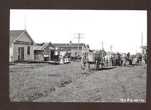 REAL PHOTO NIPAWIN SASKATCHEWAN CANADA DOWNTOWN STREET SCENE POSTCARD COPY