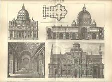 Stampa antica ARCHITETTURA RINASCIMENTO Roma Pavia 1890 Old antique print