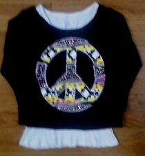 Justice Black Overlay SPARKLEY PEACE SIGN Top with WHITE Tank Girls Sz 10