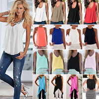 Plus Size Womens Loose Sleeveless Top Summer Vest T Shirt Casual Blouse Tee 6-20