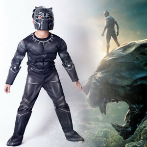 Kids Boys  Panther Costume Superhero Cosplay Party Fancy Dress Outfits Black J1