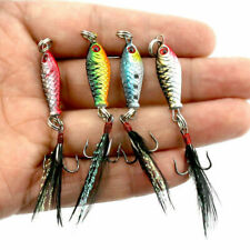4x Hard Metal Fishing Lures Small Minnow Lure Bass Crankbaits Tackle Hooks