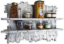 Handmade Echtholz Upcycling Regal im Shabby Chic Used Look weiß shelf rack