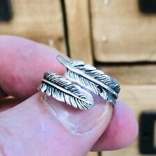 Feather 925 Sterling Silver Adjustable Ring Size L-S Solid Silver 925 Oxidise