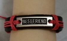 BEST FRIEND ADJUSTABLE BROWN LEATHER BRACELET - CORAL - FAMILY - FRIENDSHIP