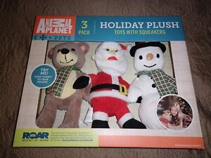 BRAND NEW! ANIMAL PLANET 3-PACK HOLIDAY PLUSH TOYS WITH SQUEAKERS!