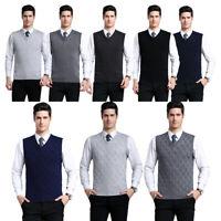 Mens Knitted Slim Pullover Sweater Jumper Argyle Vest Sleeveless V-Neck Tank Top