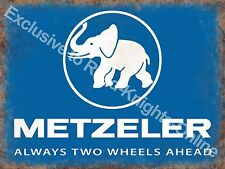 Vintage Garage Metzeler Tyres Motorcycle Motorbike Wheels, Large Metal Tin Sign