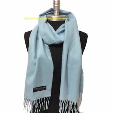 New 100% CASHMERE SCARF MADE IN SCOTLAND SOLID Light Blue SUPER SOFT UNISEX