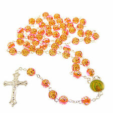 Orange rose flower plastic rosary beads necklace 56cm length Saints center