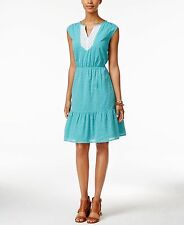 2042 Tommy Hilfiger Women's Blue Printed Lace-trim Dress Small MSRP $89.50