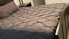 West Elm Organic Cotton Pintuck Duvet Cover Full/Queen Charcoal grey gray