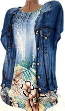 Gr.46-48-50 Strass T-Shirt Dio (Blau Touch) Damen Kurzarm Tunika Bluse Top