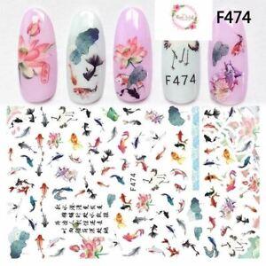 Koi Fishes nail stickers F474