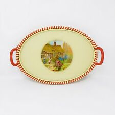 Vintage Oval Serving Tray With Reverse Foil Domestic Cottage Scene Rattan Handle