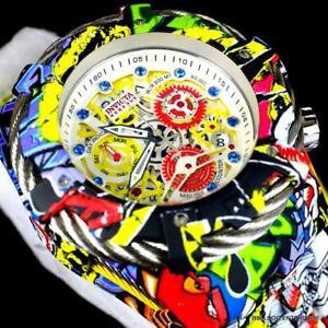 Invicta Grand Bolt Zeus Graffiti Hydroplated Steel Blue Gems Swiss Mvt Watch New