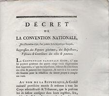 Décret Convention Nationale 1792 payeurs généraux rôle & patente Chartres DURAND