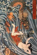 Tamatori Being Chased di Drago Giapponese Riproduzione Xilografia Poster Stampa