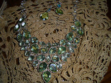 "GREEN AMETHYST NECKLACE 19"" W 77 GR SILVER CHAIN OVER 50 K"