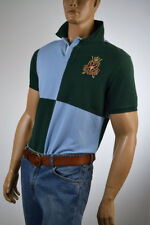 Ralph Lauren Custom Fit Turquoise & Green Striped Polo/Gold Crest -Large- NWT