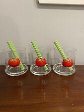 3 Vtg. Bloody Mary Tumblers Glasses W/ Ceramic Celery Stir Sticks