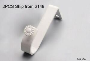 HEAVY DUTY CURTAIN ROD BRACKET BRACE BLIND SUPPORT 2PCS WHITE SINGLE 13-23MM 90G