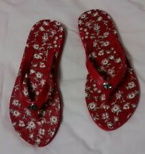 COACH ABBIGAIL RED AND WHITE FLORAL FLIP FLOPS