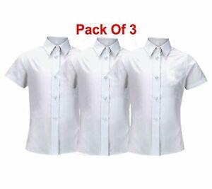 "3 Pack Girls Shirt Blouse Top White School Uniform Cotton Short Sleeve 5-18y 48"""