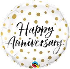 "Happy Anniversary Gold Dots 18"" Qualatex Foil Balloon"