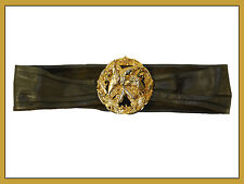 "Fashion Soft Leather 27"" Belt with Round Decorative Gold Buckle 8"" x 5"""