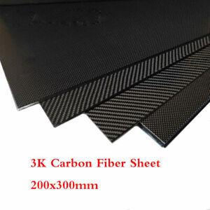 3K Carbon Fiber Plate Panel Sheet Matte Plain Woven 200x300mm Thick 0.5-5mm