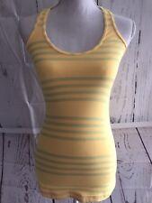 Lululemon Women's Size 4 Yellow/Green Striped Racerback Tank