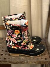 Brand New In Box Floral Waterproof Winter/Spring Duck Boots - Size 6