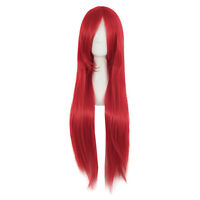 Women's Red Wig Long Hair Wigs With Bangs Wig Cosplay Straight Wig