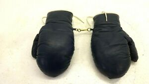 RETRO NAVY BLUE LEATHER BOXING GLOVES FOR KIDS OR WOMEN EXTRA SMALL XS