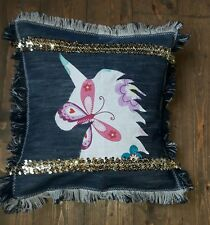 Unicorn Cushion Cover, Handmade Sparkly Sequins Patchwork Denim Pillow Cover