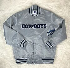 New Dallas Cowboys Starter Satin Silver Jacket NFL Varsity Mens Size Large