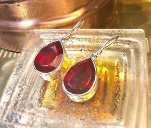 Genuine 925 Sterling Silver Created Garnet Gemstone Dangle Earrings
