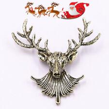 Hot Women Men Metal Retro Bronze Christmas Elk Deer Brooch Pin Jewelry Gift UK