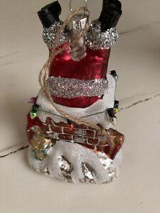 Pottery Barn Mercury glass SANTA IN CHIMNEY christmas Ornament NEW IN BOX