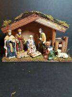 Nativity Set 8 Porcelain Figures 1 Wooden Creche Macy's Christmas 2011