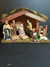 Nativity Set 8 Porcelain Figures 1 Wooden Creche Macy's Christmas 2011