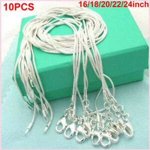 Wholesale 10X 16-30inch Jewelry 925 Sterling Silver Plated Snake Chain Necklaces