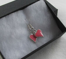 Handmade Pretty Pink Enamel Inset Heart Pendant Charm Boxed Earrings