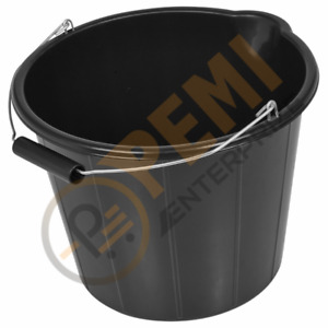 Black Plastic Bucket 3 Gallons 14L Strong Heavy Duty Water/Feed Storage Handle